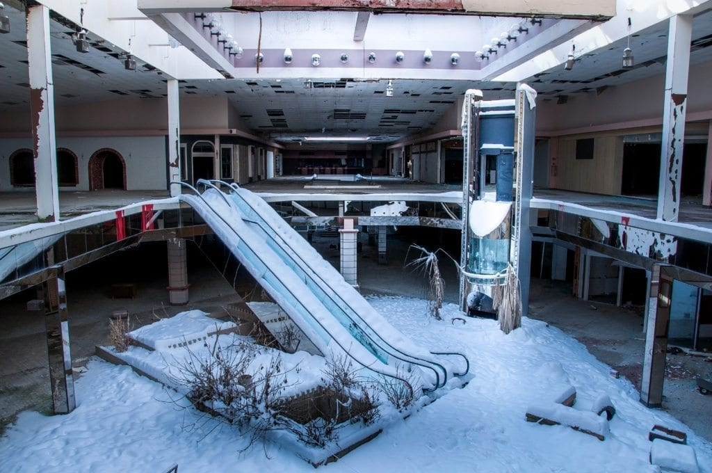 Abandoned Rolling Acres Mall filled with snow